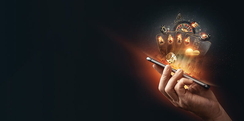 A Hand Holding Smartphone with Casino Illustration